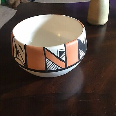 Vtg 1985 Betty Selby Pottery Hand Painted Vase Bowl #18 Southwest Beautiful