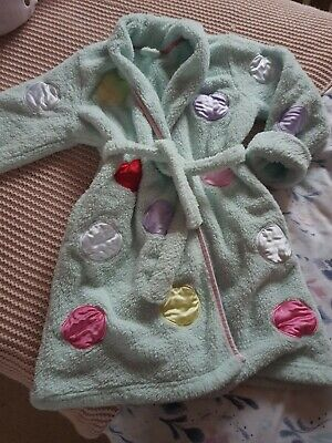 Little Girls Marks And Spencer Dressing Gown, Age 6 To 7. Pale Blue With Spots