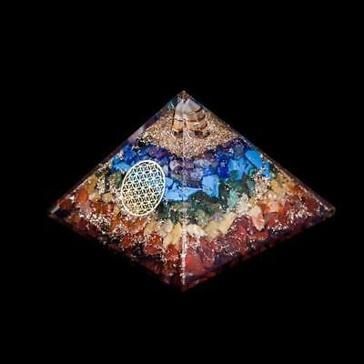 Extra Large 70-75 MM Orgonite 7 Chakra Gemstone Pyramid Oregon EMF Energy