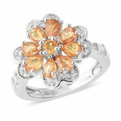 Yellow Sapphire, White Topaz Ring in Sterling Silver (Size 10.0) 1.94 ctw