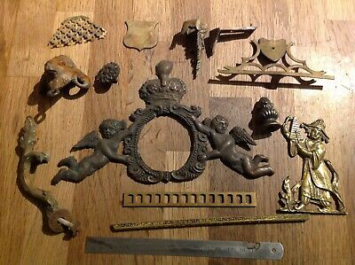 Antique Clock Brass Case Embellishments Clockmakers Spare Parts Collection