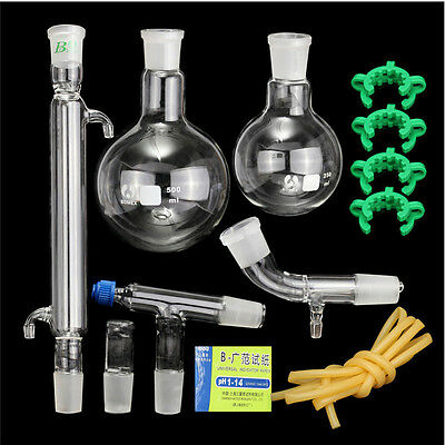 500ml,24/40,Glass Distillation Apparatus,Laboratory Chemistry Glassware Kit  !