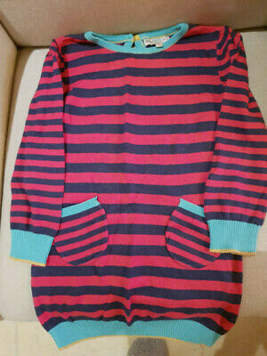 M & S Marks And Spencer Girls Knitted Dress Striped Blue And Red Size 3-4 Years