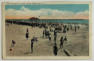 1925 NJ Postcard Ocean City New Jersey On the Beach at Park Place crowd pier