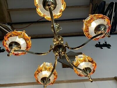 VINTAGE MAZZEGA MURANO CHANDELIER - BY CARL NASON 1970's MID CENTURY LIGHT RETRO