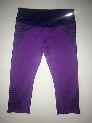 AVIA Girl's Sz L 10-12 Capri Cropped Leggings Pants Athletic Purple Plum Stripes