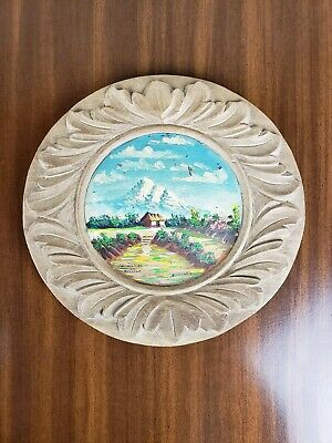 Mountain Art Wood Carved Vintage Hand Painted Wall Plate Cabin Sky