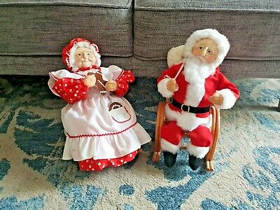 Vintage Christmas large Santa and Mrs Claus hand crafted 1970s