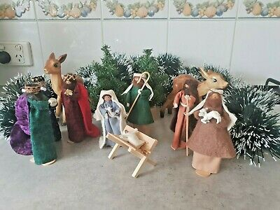 Vintage Christmas hand crafted Nativity Scene 10 piece