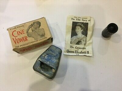 Vintage Film Stips Cine Viewer With Film Of The Coronation