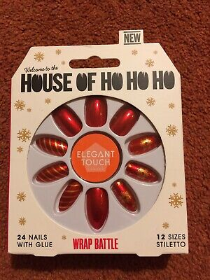 ELEGANT TOUCH HOUSE OF HOLLAND False Nails Wrap Battle Christmas Red Gold BNIB