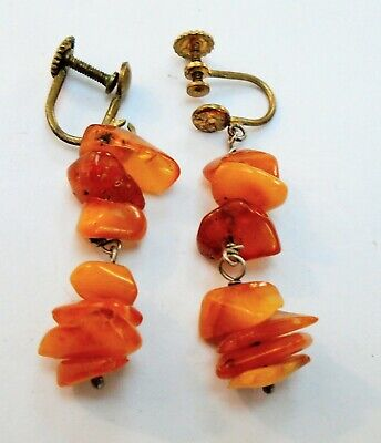 Pair good quality vintage gold metal & butterscotch amber pendant earrings