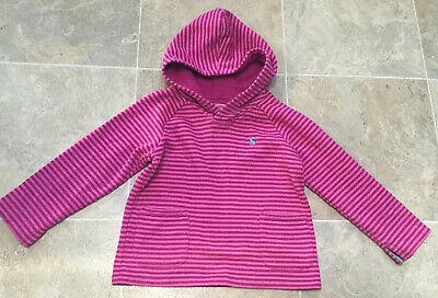Joules Girls Pink Striped Hooded Top/Jumper/ Hoodie Age 4 Years In VGC