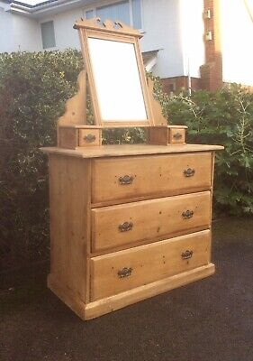 Victorian Rustic Stripped Pine Chest of Drawers/Dressing Table