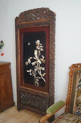 Antique Oriental Screen Panel 19th Century 6.5ft Tall  - Delivery Available