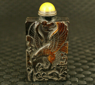 Chinese Old yak horn eagle god of wealthy buddha figure statue snuff bottle