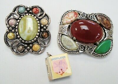 Fine vintage Scottish sterling silver photo book pendant /charm + brooch + 1