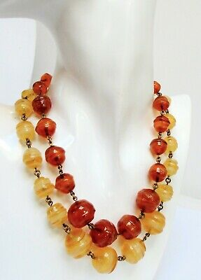 Superb large vintage Deco 2 row gold metal & agate glass bead necklace