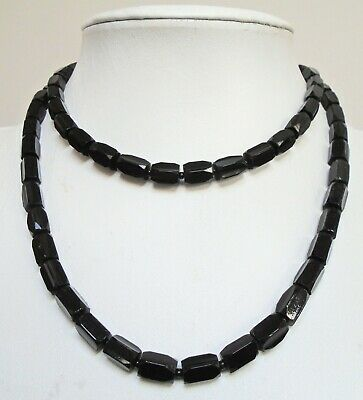 Good quality 2 row vintage French jet bead necklace