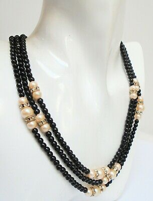 Stunning very long vintage, pearl, diamond paste & French jet bead necklace
