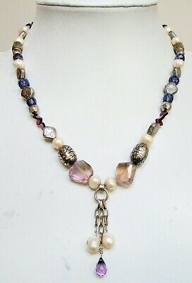 Good quality large vintage silver metal, cultured pearl & garnet bead necklace