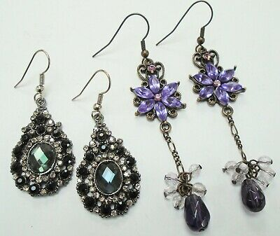 Two pairs large vintage ornate earrings (gold metal, amethyst paste, French jet)