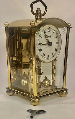 "Vintage Welby Anniversary German Made 8"" Key Wind Brass Carriage Clock - Works!"