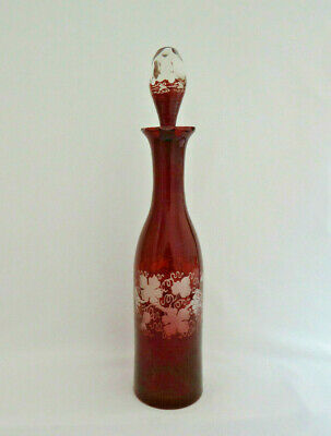 Vintage Bohemian Czech Ruby Red Cut to Clear Egermann Wine Decanter