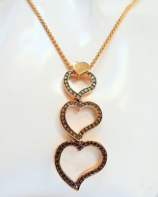 Very good quality large gold metal, ruby & diamond paste heart pendant necklace