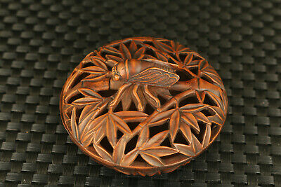 unique old Chinese boxwood Handcarved cicada censer statue fengshui collectable