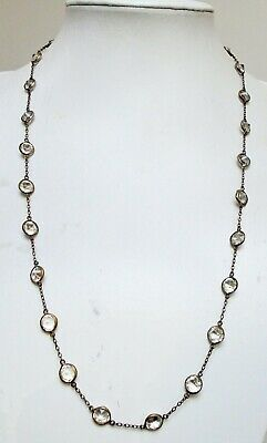 Stunning vintage Deco long silver metal & diamond paste necklace