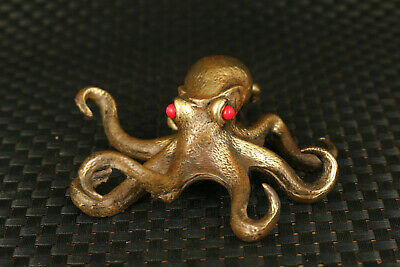 unique Big chinese old BRONZE casting octopus statue figure table decoration
