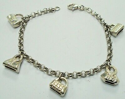 Very fine quality vintage sterling silver bracelet (5 purse design charms)