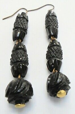 Pair beautiful antique Victorian carved Whitby jet pendant earrings