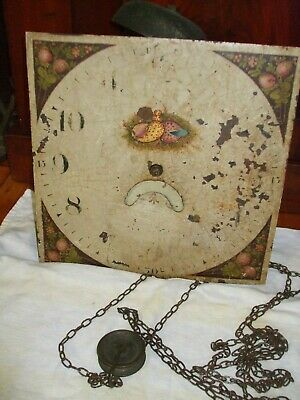 Antique 30 hour longcase/grandfather clock movement with dial, chain and bell