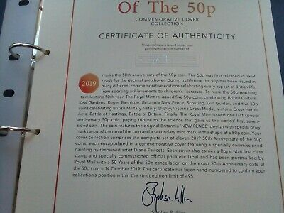 2019 50 Years of 50p Limited Edition Coin Cover Collection. Only 495 Made