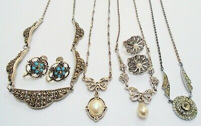 Three good vintage Deco silver metal & marcasite necklaces + earrings + 1