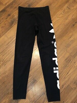 Girls Black Adidas Leggings, Age 12-13 Years