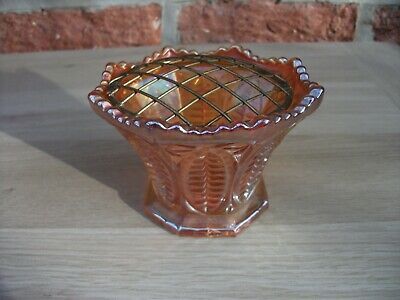 Carnival Glass Sowerby Marigold African Shields Vase With Original Metal Holder