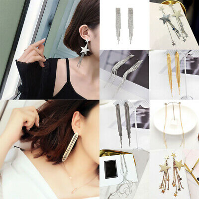 Women Rhinestone Crystal Long Tassel Earrings for Bridal Drop Dangling Earrings