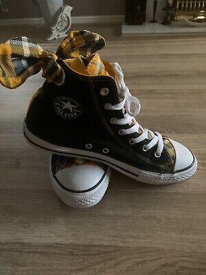 Converse All Star Tartan High Tops With Quirky Bows Chuck Taylor Size 5 New