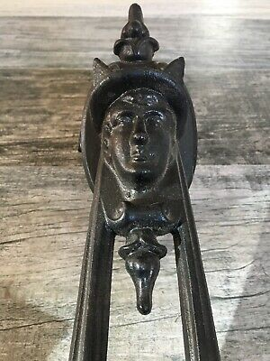 Antique Victorian Gothic Man W/hat Painted Cast Iron Architectural Door Knocker