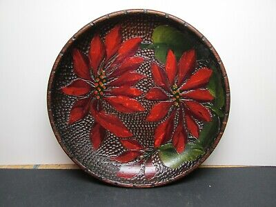 Antique Hand Carved and Painted Pyrography Wooden Bread Bowl~Poinsettias
