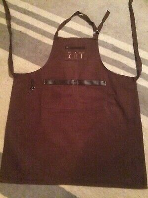 Brown Bartenders Apron Leather Trim