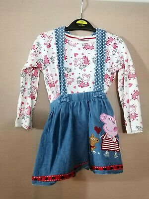 Peppa Pig Top and skirt Dungaree Outfit  Girls 2 - 3 years