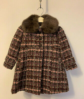 Monsoon Girls Nora Rose Button Tweed Fur Fit Flare Party Dress Coat 3 to 4 Years