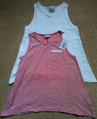 Girls Summer T-shirt Vests Red & White Matalan Age 9 BNWT