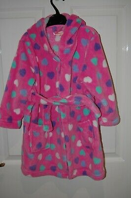 Girls Hearts Fleece Dressing Gown with Hood by Bluezoo 3-4 years