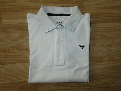 Boys ARMANI JUNIOR White Long Sleeve Polo T-Shirt Size 8A yrs years / 130 GREAT