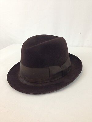 Royal Stetson Mens S Brown Distressed Wool Fedora Hat